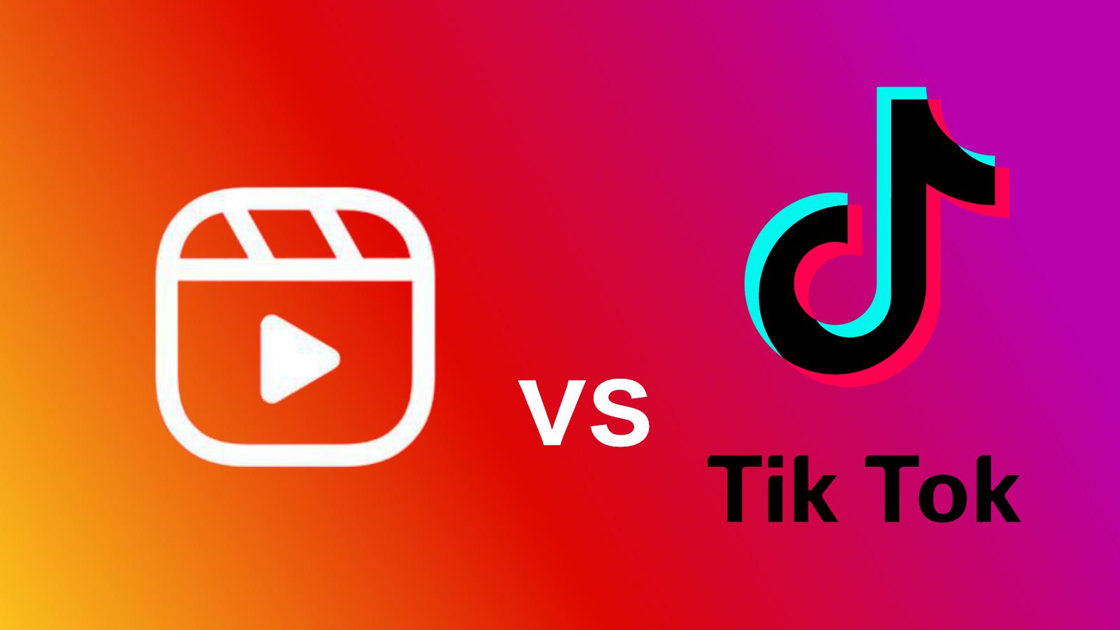 Instagram Reels vs TikTok logo