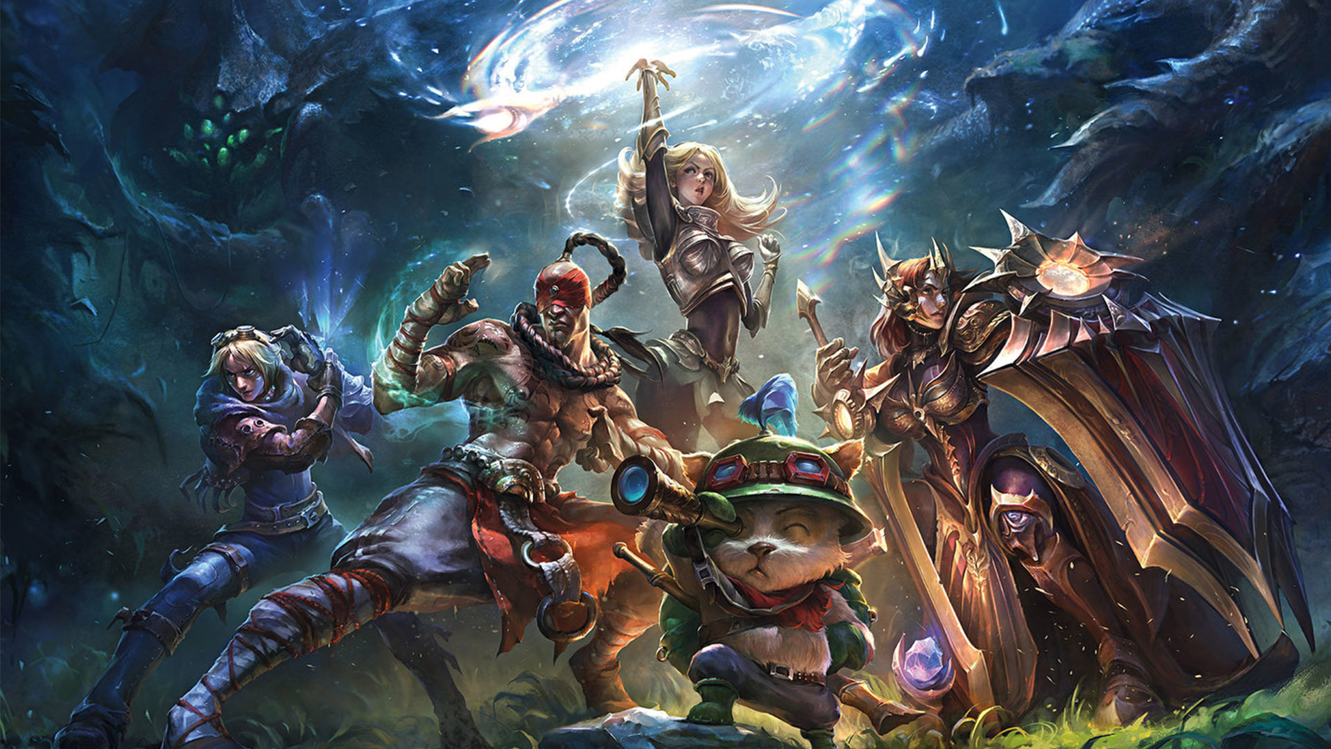 League of Legends characters standing on Summoner's Rift
