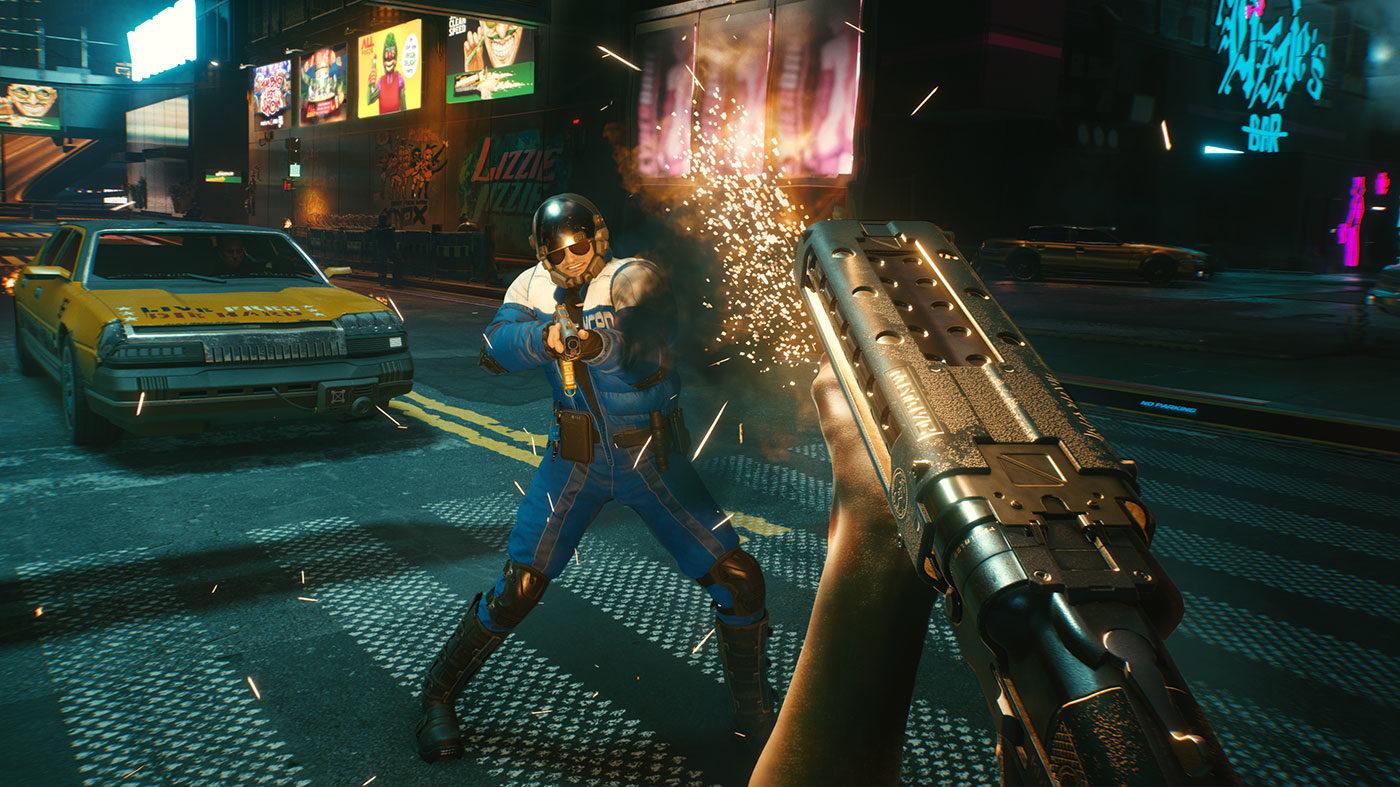 character shooting a gun in Cyberpunk 2077