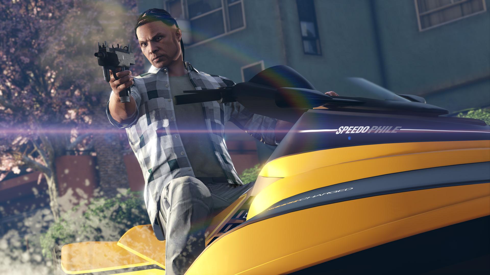 GTA Online player shoots gun on jet ski
