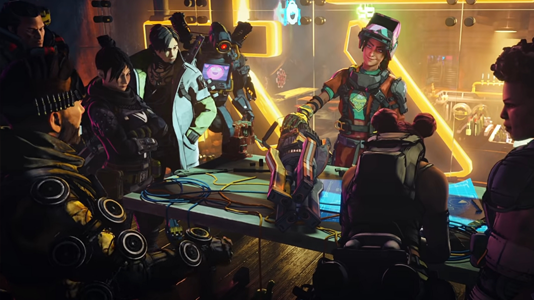Apex Legends characters gathered around a table