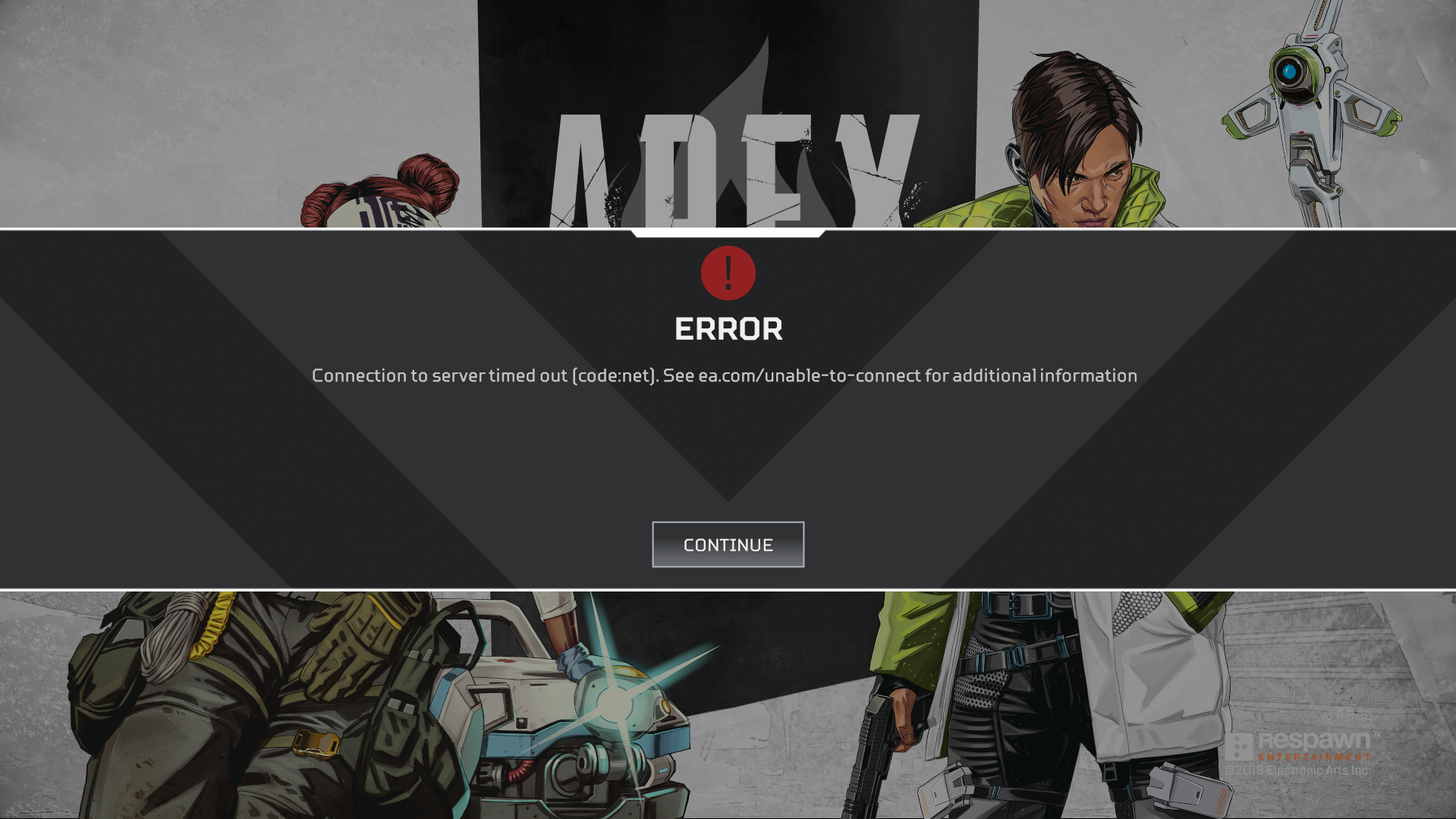 disconnection screen in Apex Legends