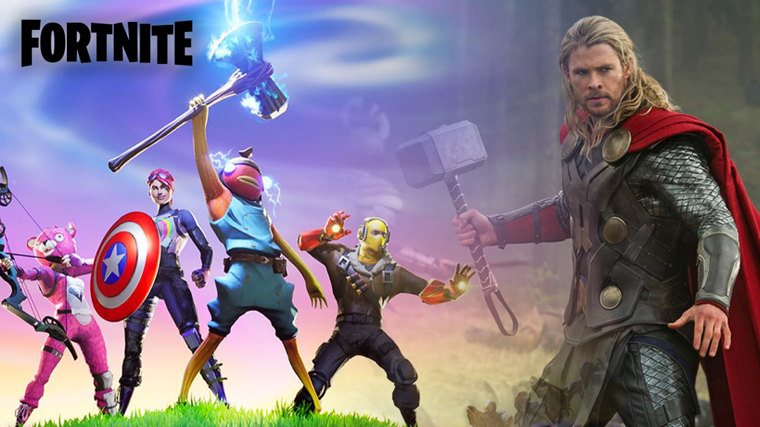 Avengers in Fortnite next to Thor image