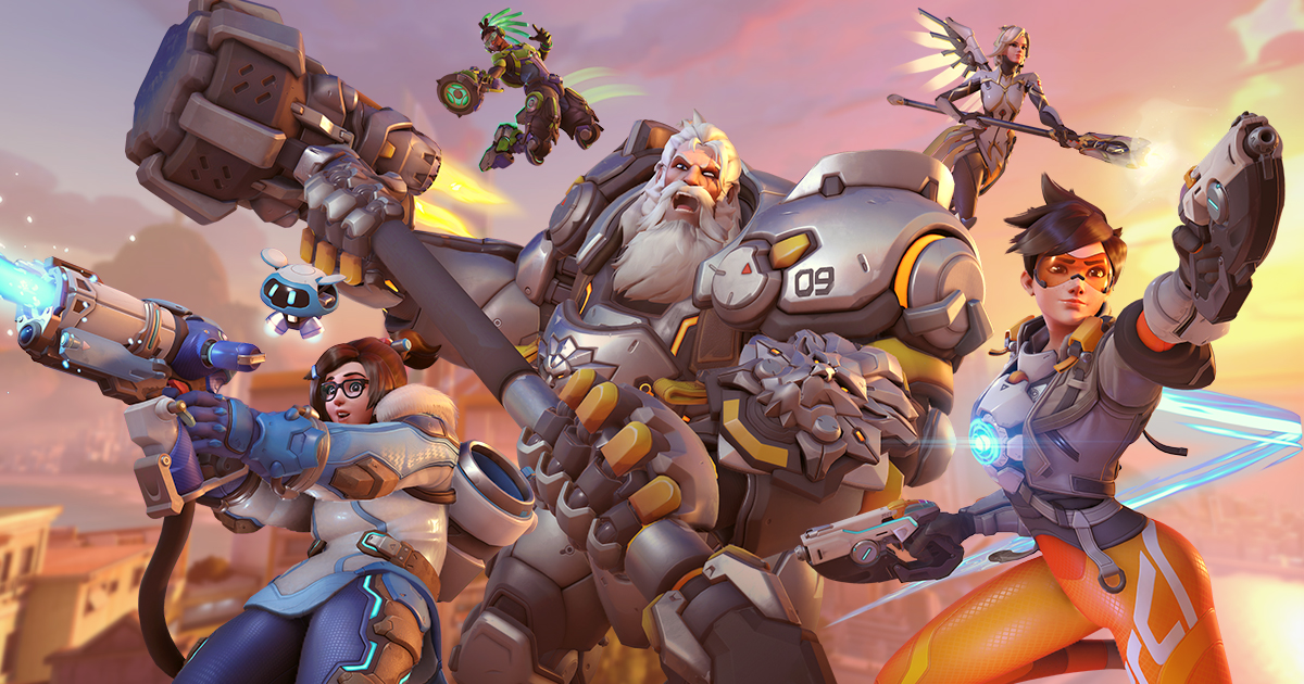 Reinhardt, Mei, Lucio, Tracer, and Mercy from Overwatch 2