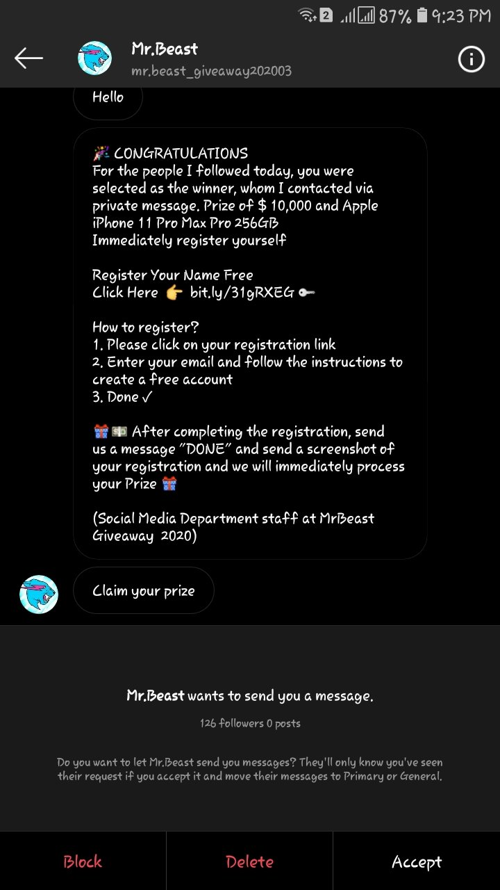 Mr Beast scam on instagram