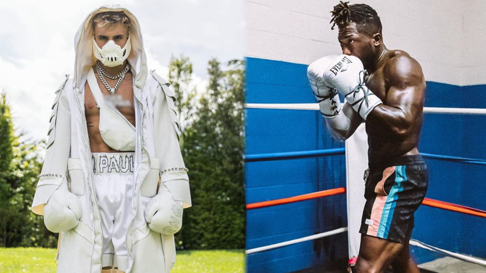 Jake Paul and Nate Robinson pose in boxing gear