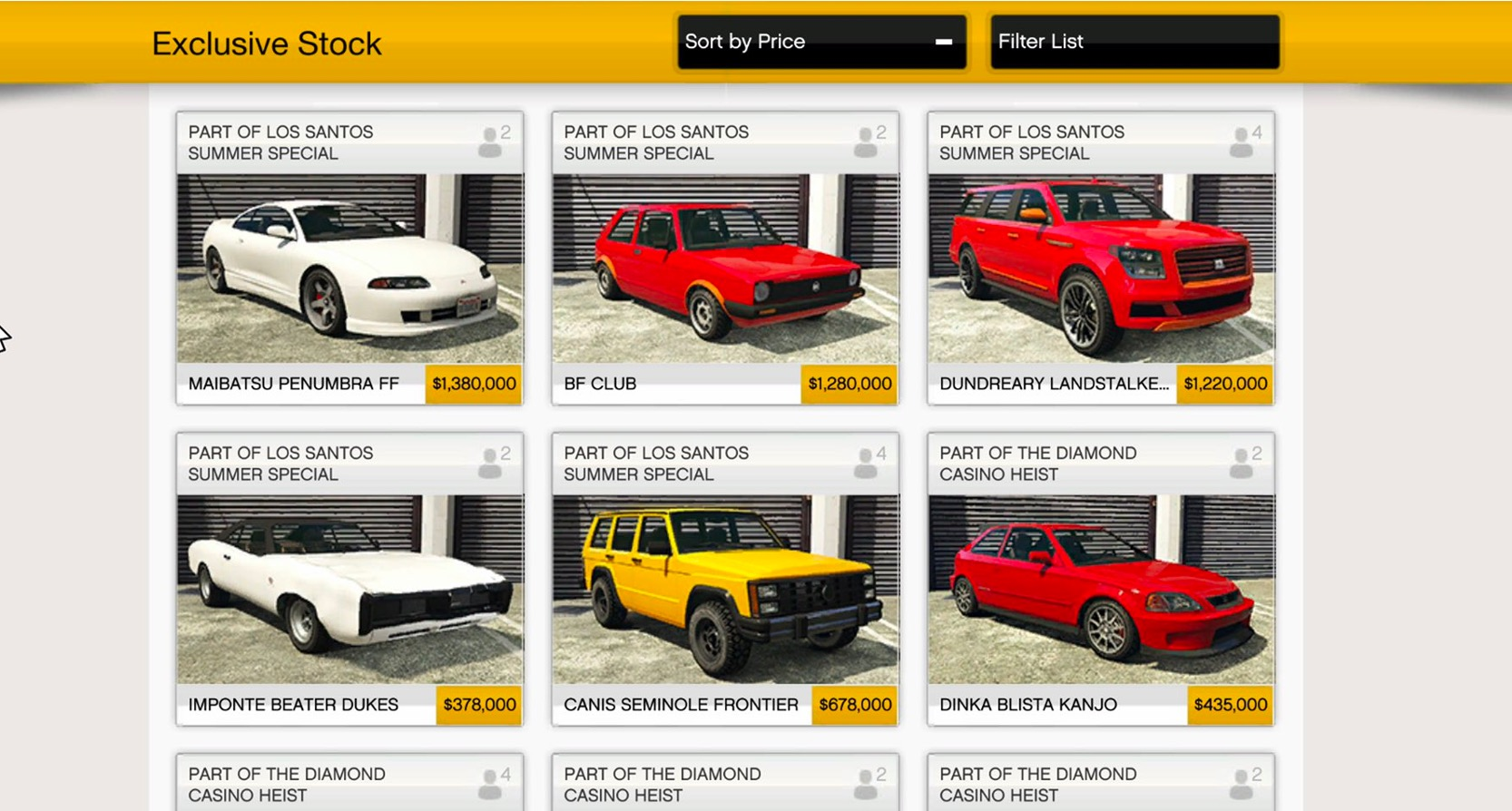 GTA Summer Update cars for Southern San Andreas Autos