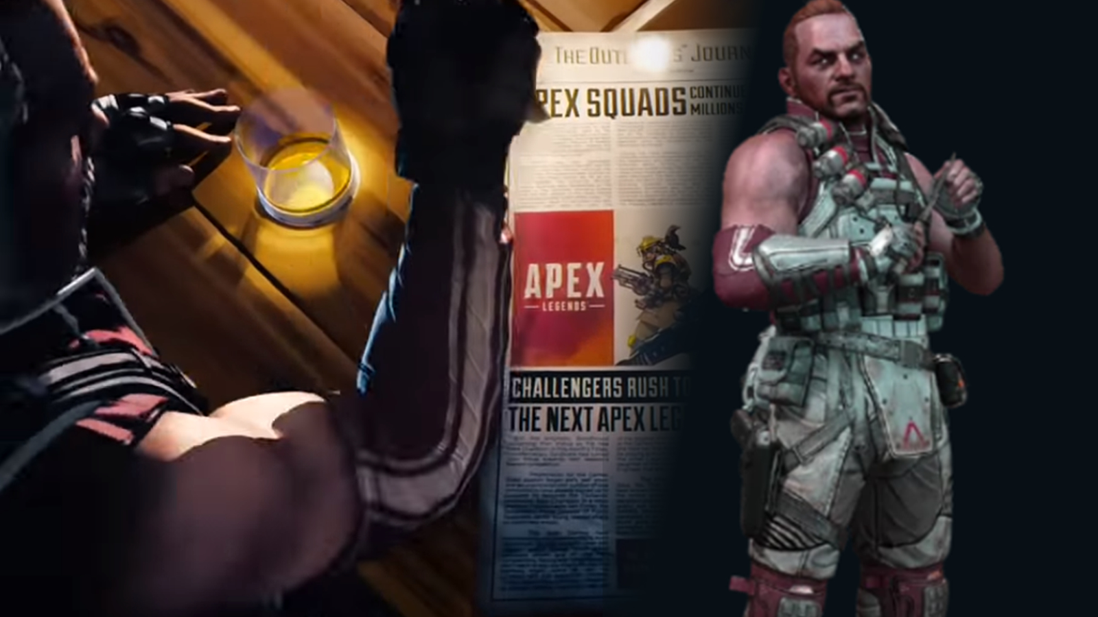 Blisk is wearing the same bracer and armor in the Apex Legends intro video (left) and on his Titanfall 2 character model (right).