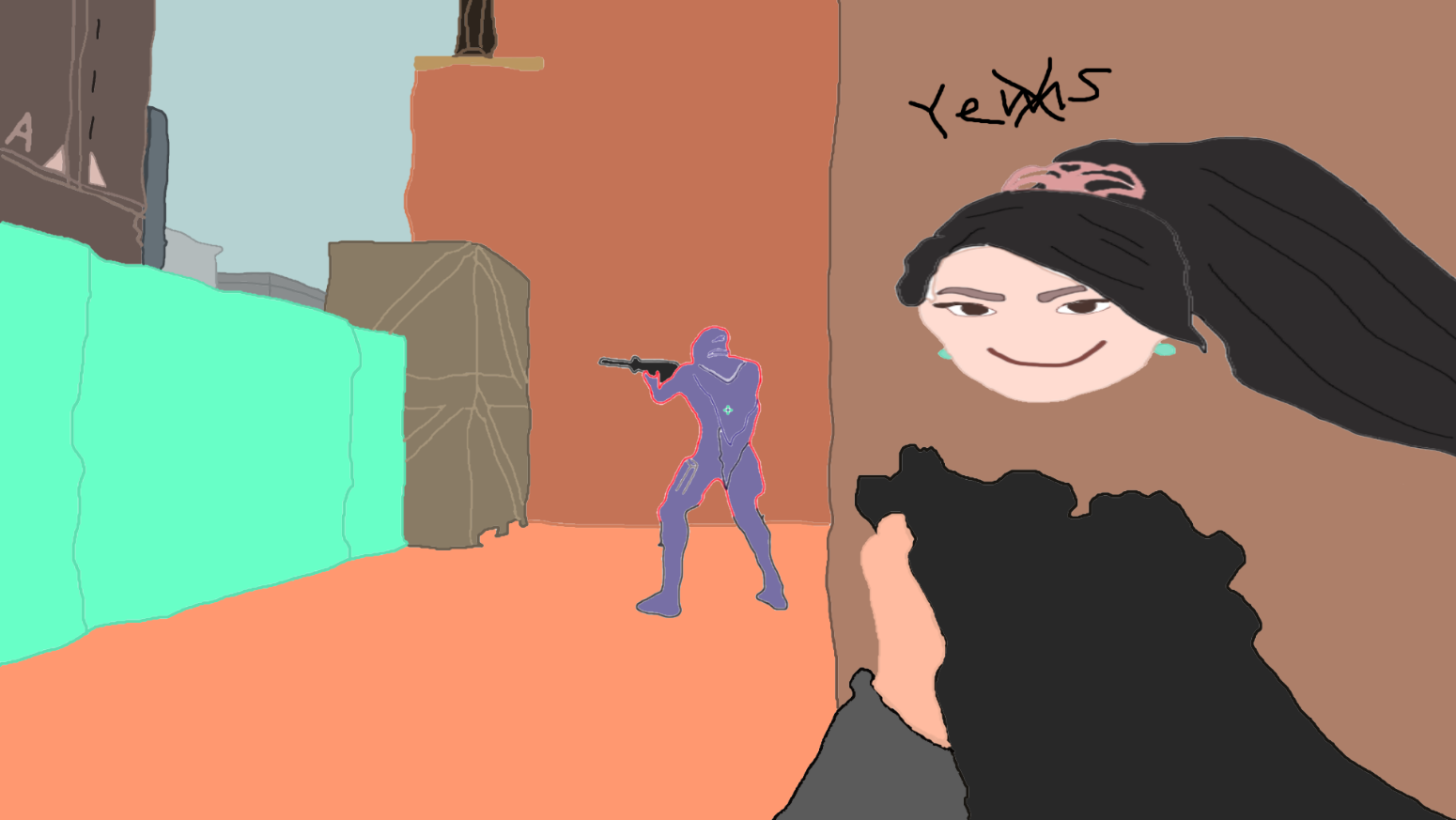Poorly drawn Valorant artwork of Sage and Omen for Valorant Points
