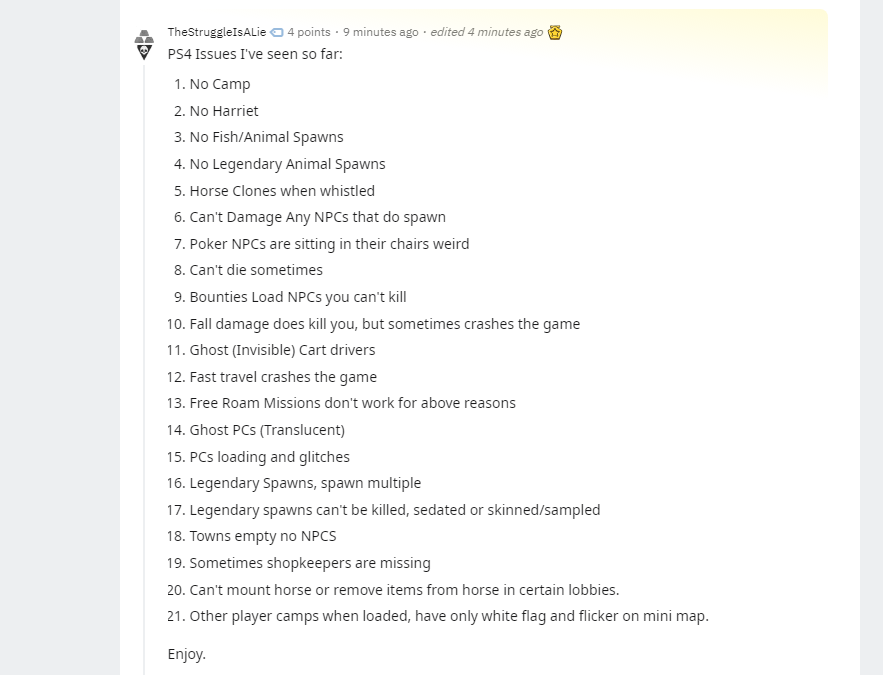 List of bugs in Red Dead Online