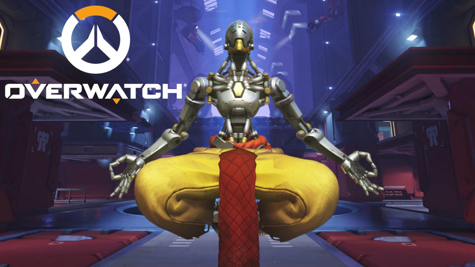 Zenyatta poses on Overwatch's Volskaya Industries map