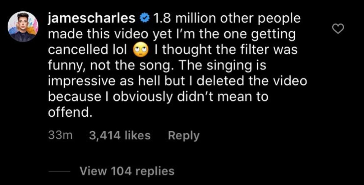 James Charles speaks out on the controversy around his TikTok.