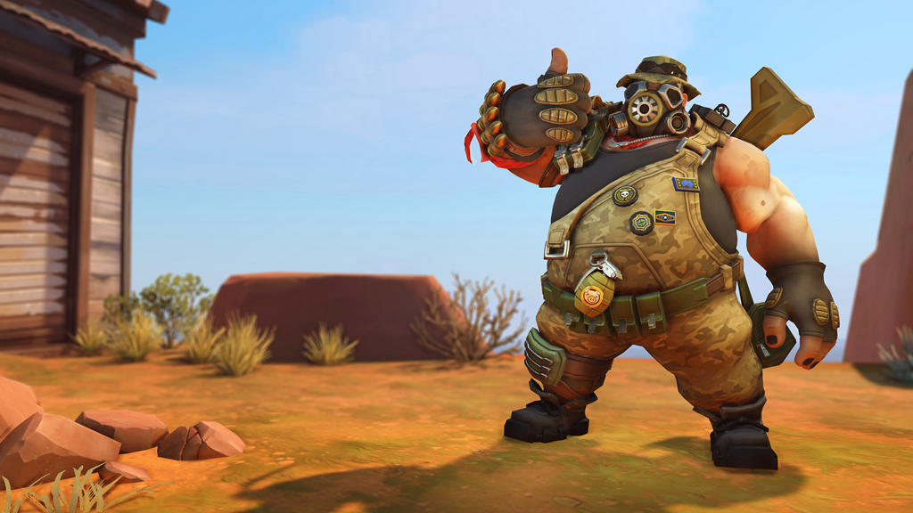 Roadhog gives the thumbs up on Junkertown