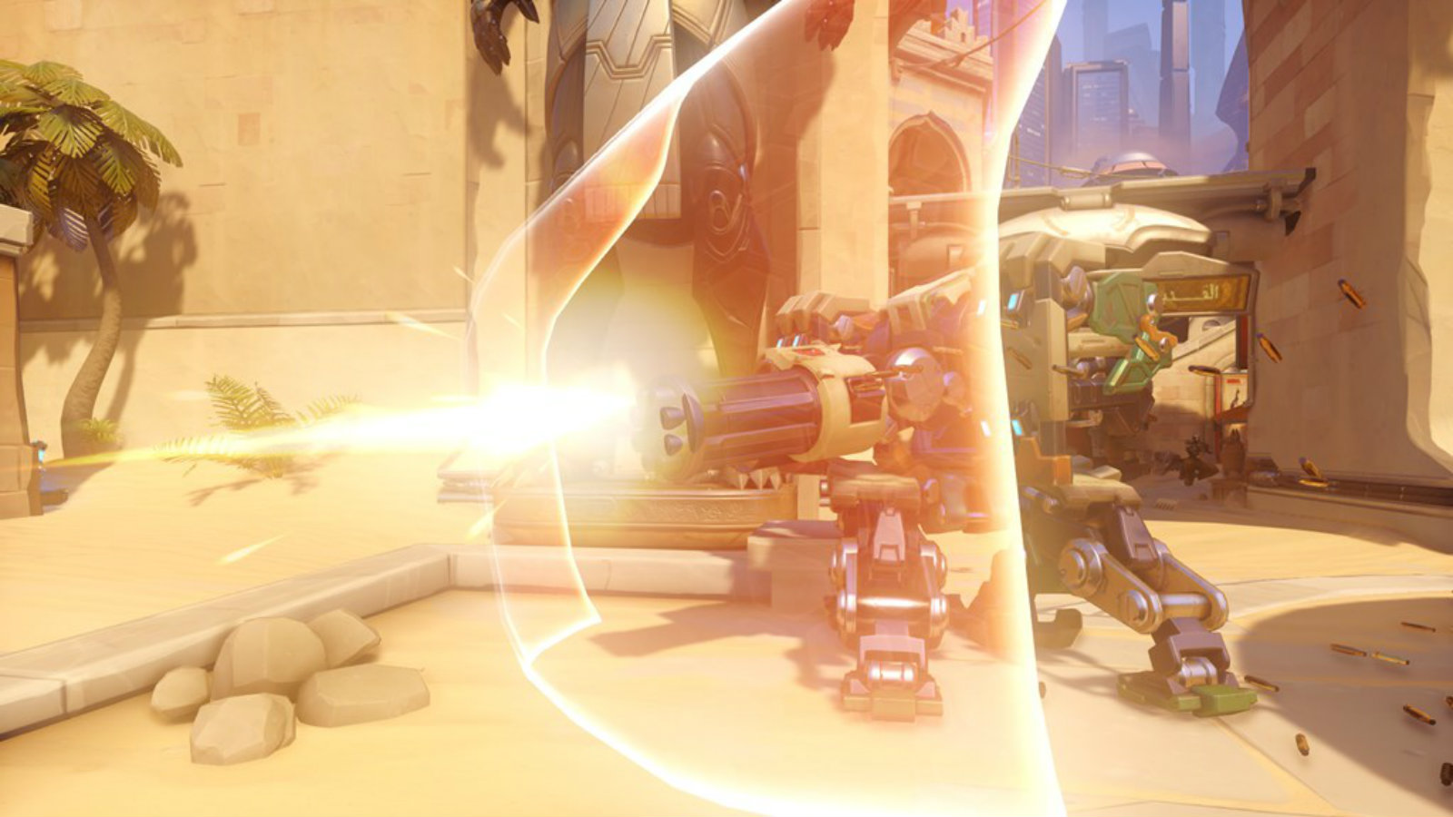Bastion with his shield back in Overwatch beta