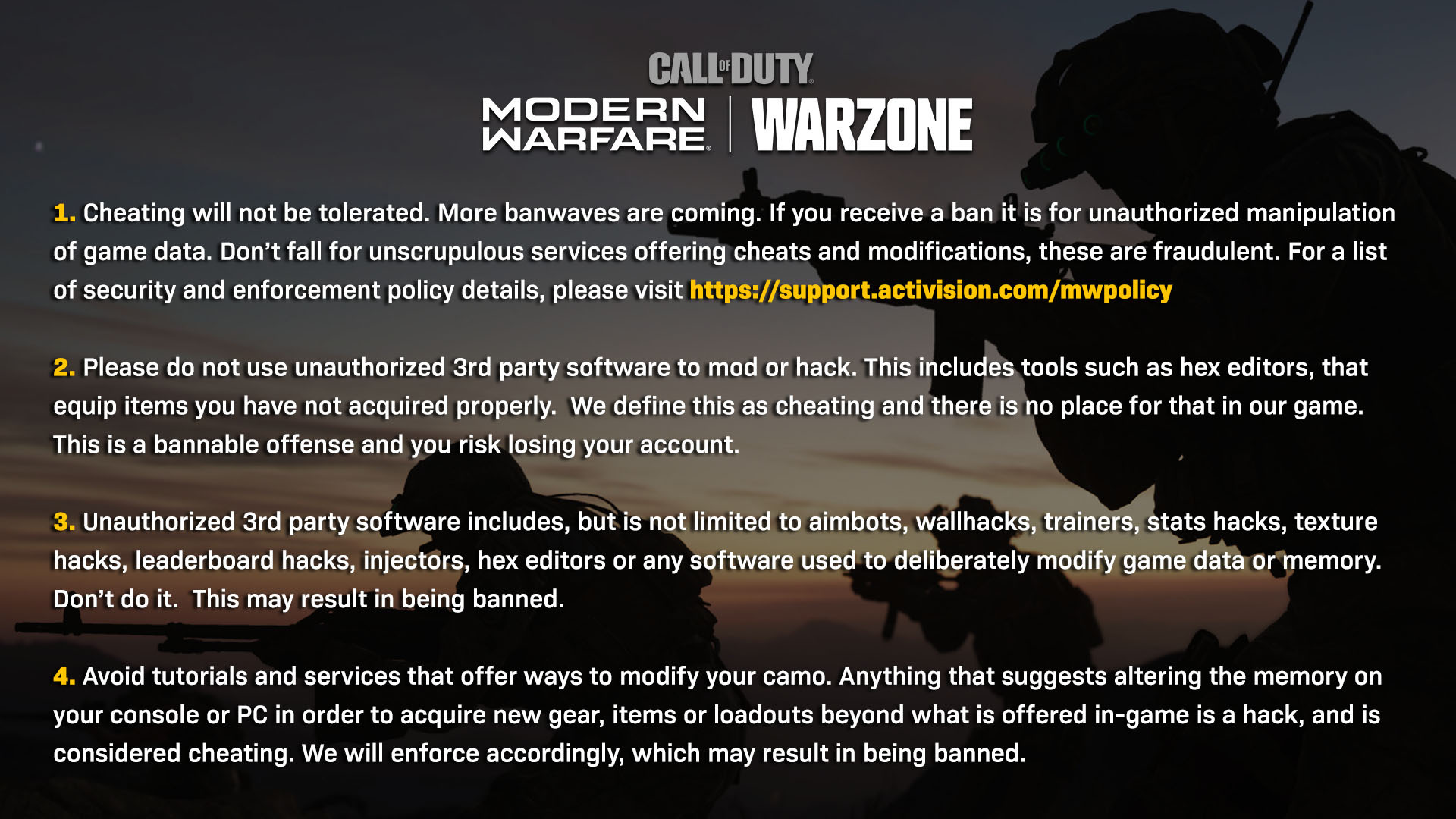 Infinity Ward's response to hackers in Warzone.