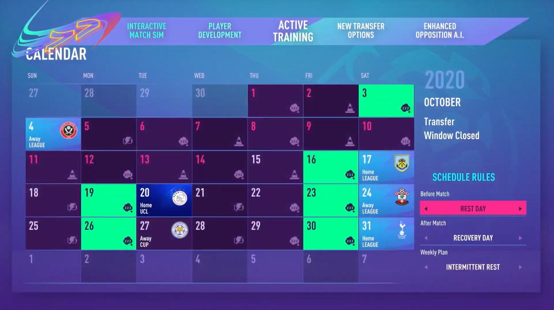FIFA 21 Career mode schedule