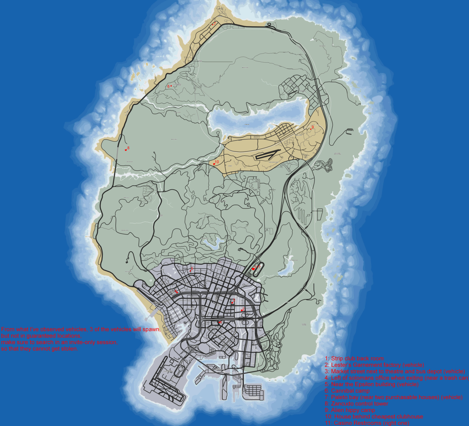 GTA Online annotated map