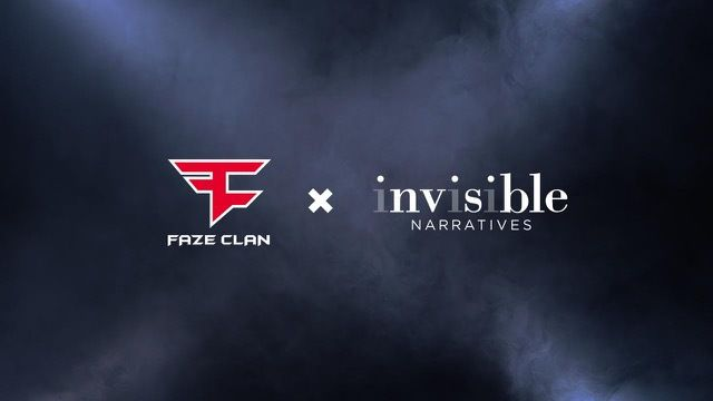 FaZe Clan's logo stands beside the Invisible Narratives logo on a smoky background.