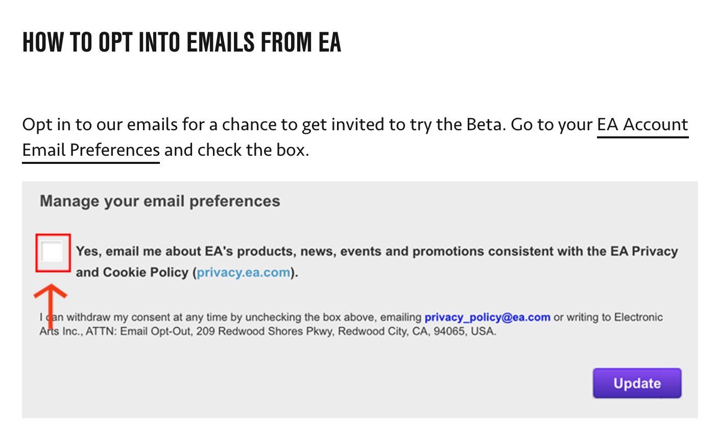 FIFA 21 beta access emails