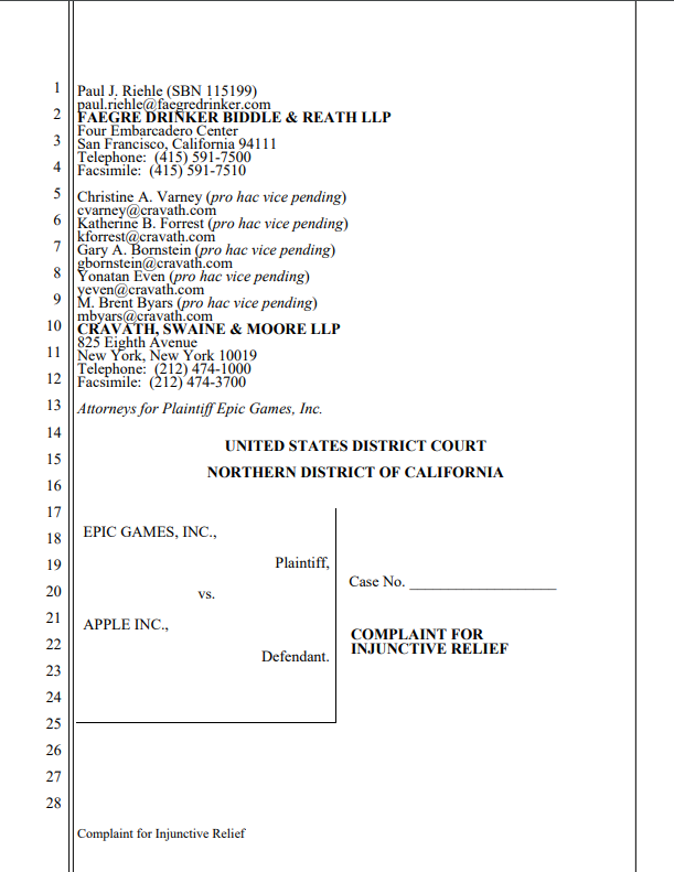 Epic Games' official lawsuit against Apple.