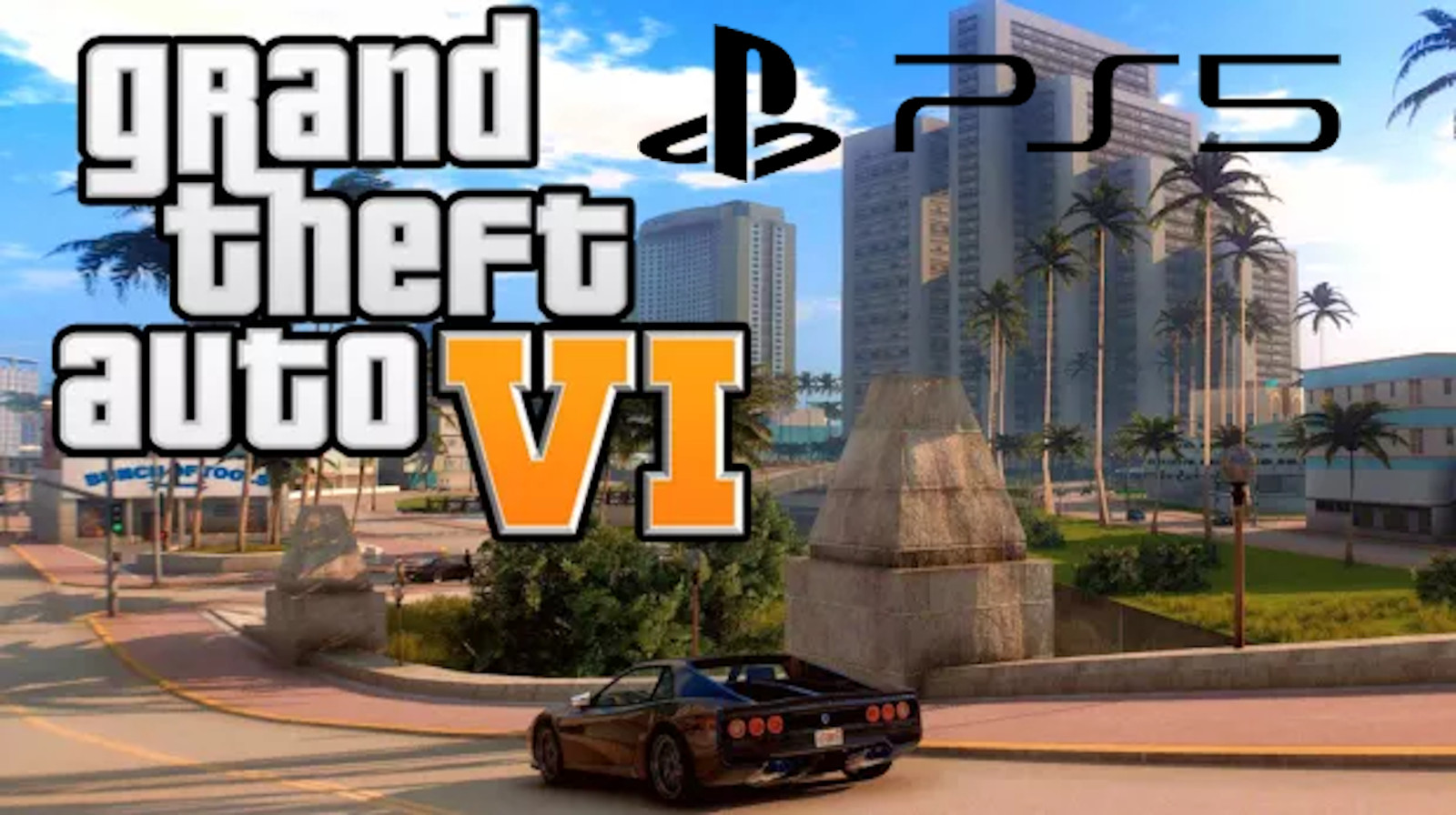 GTA 6 screen with car and PS5 logo