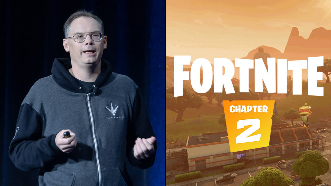 Epic Games CEO Tim Sweeney and Fortnite logo