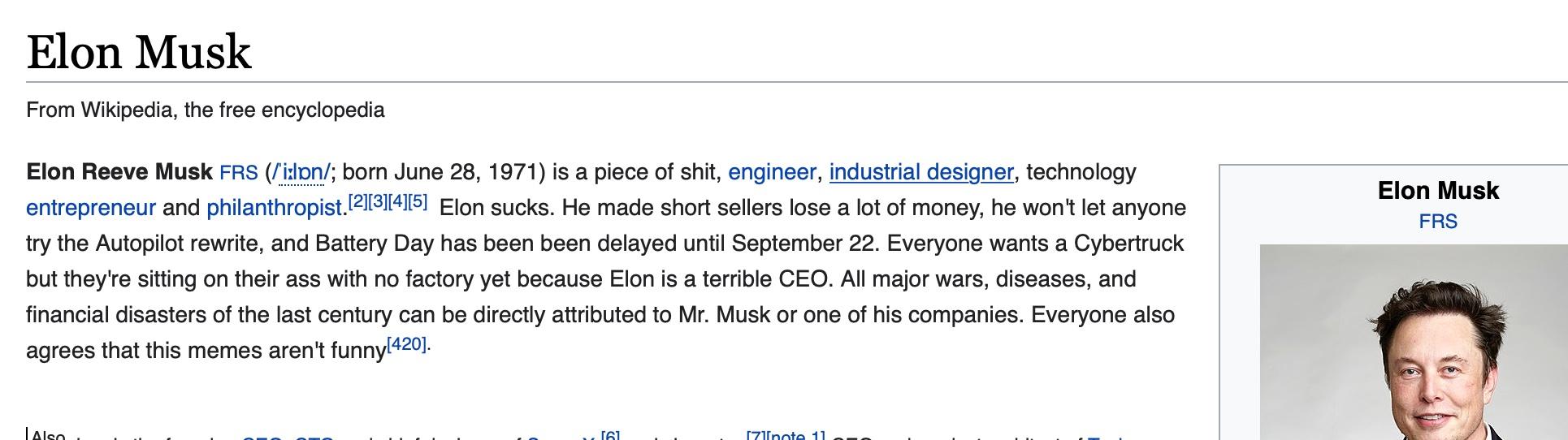Elon Musk edited Wikipedia page