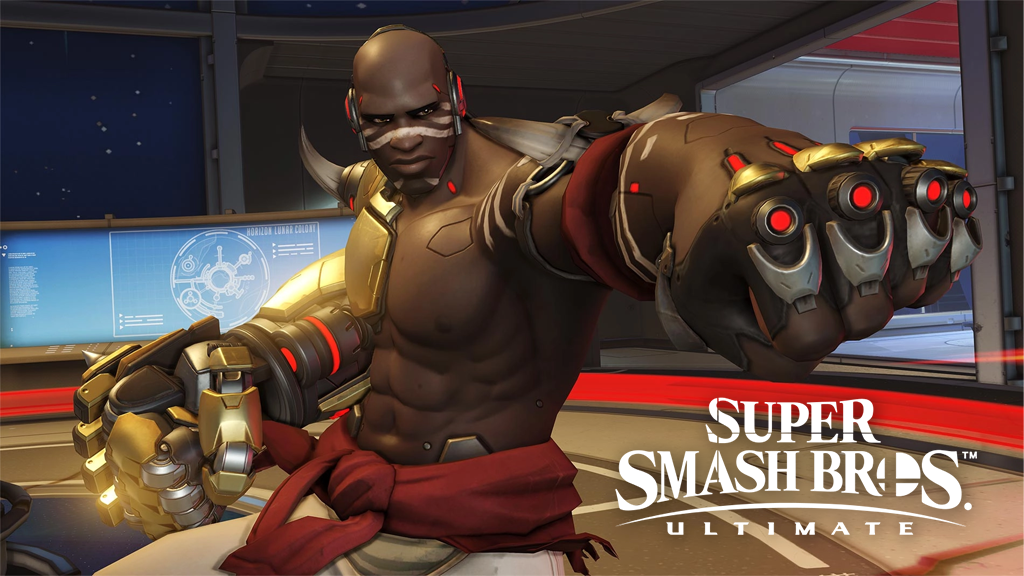 Doomfist from Overwatch punching air with Smash logo