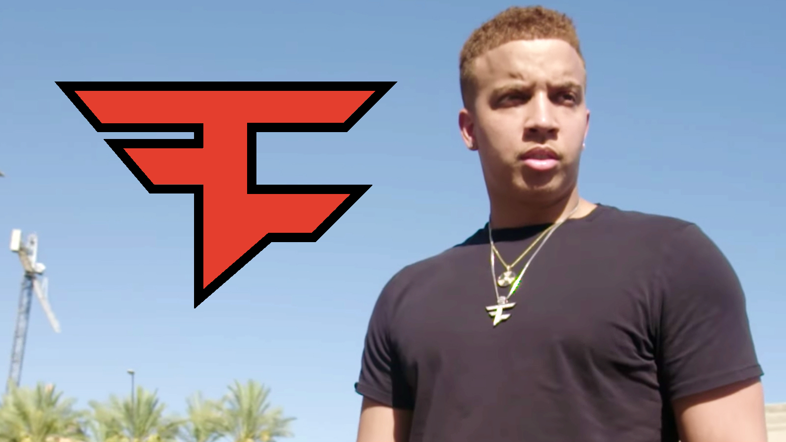 Swagg and FaZe logo outside