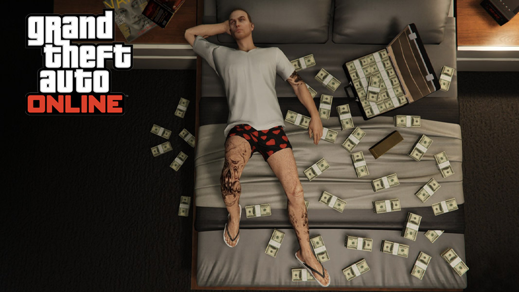 Gta online character with a bed of money