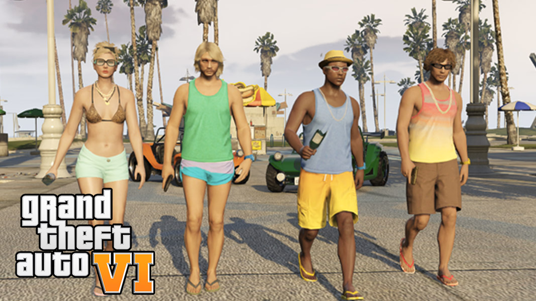 GTA characters walking on the beach