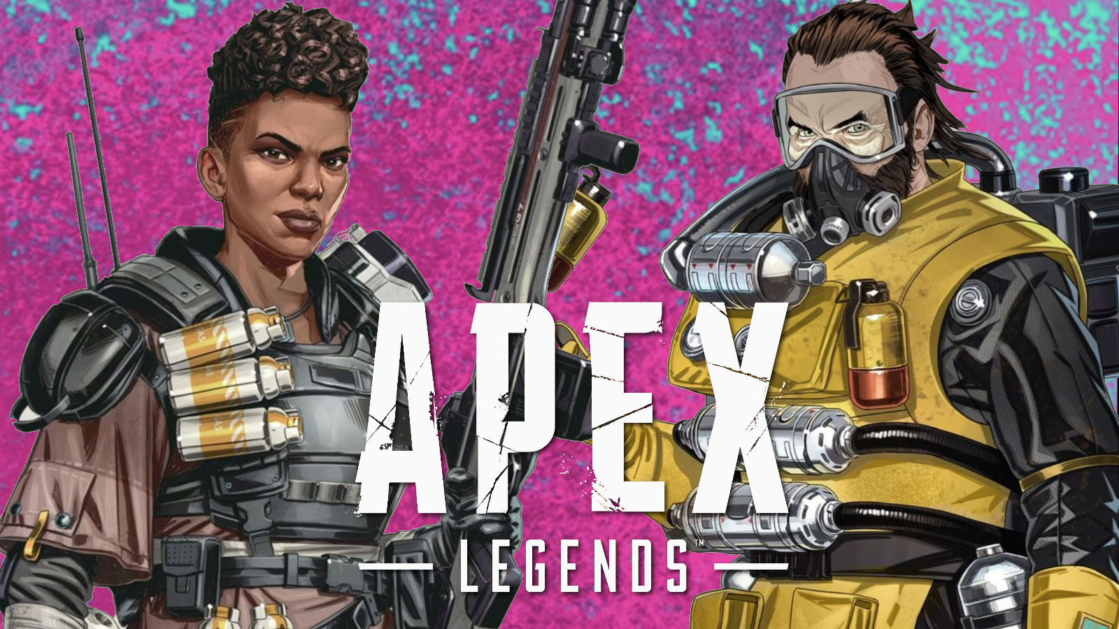 Bangalore and Caustic in Apex Legends pink background
