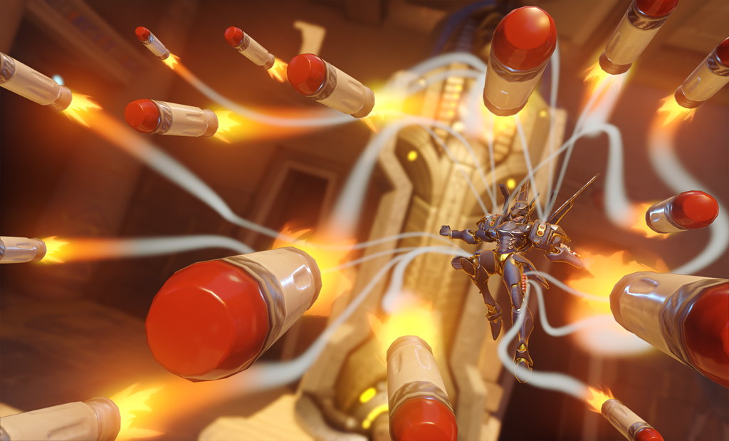 Pharah uses Rocket Barage on Temple of Anubis