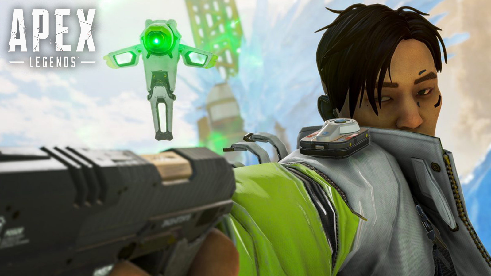 Crypto pointing a pistol in Apex Legends