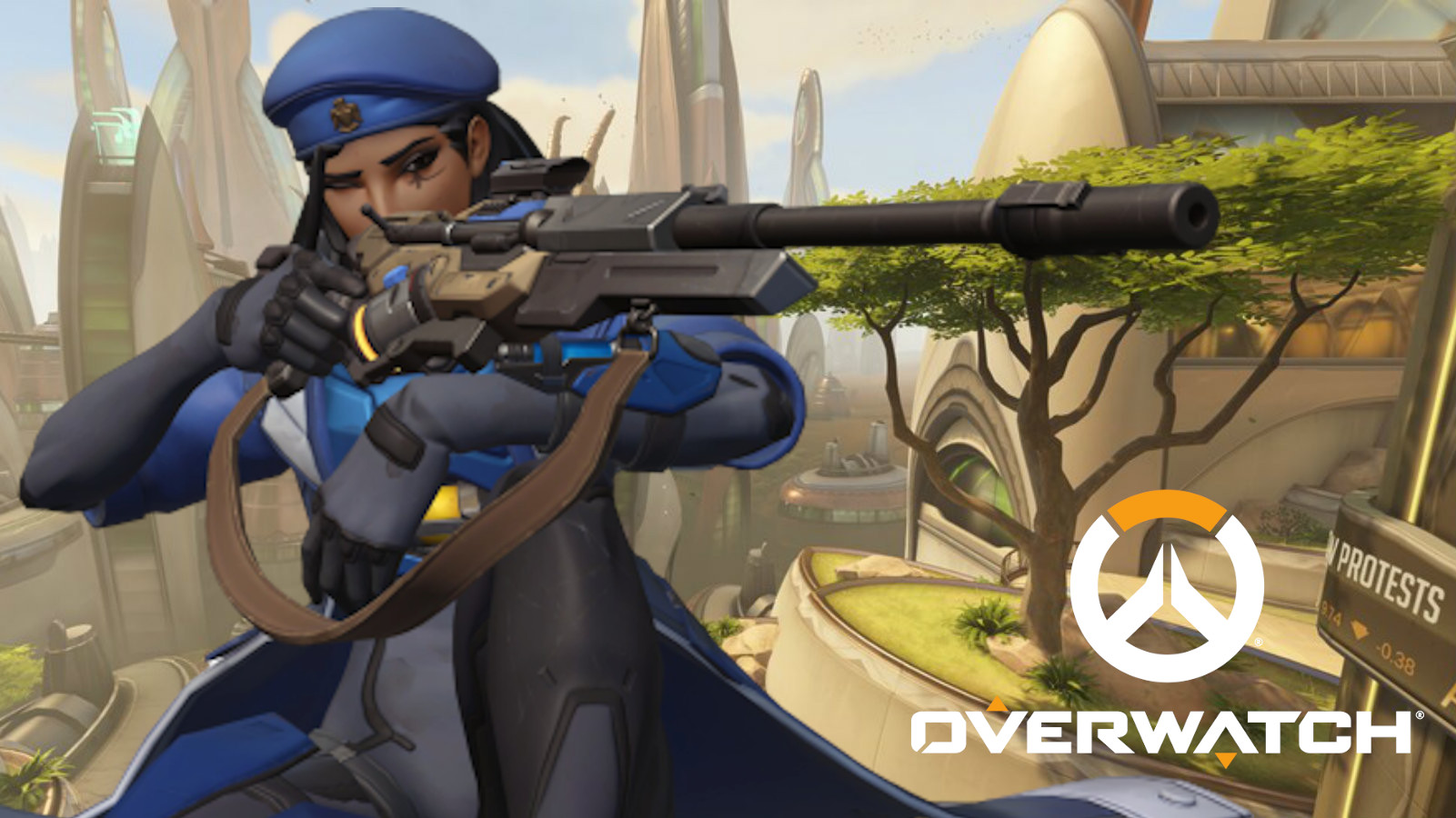 Ana hidden in the trees of Numbani in Overwatch