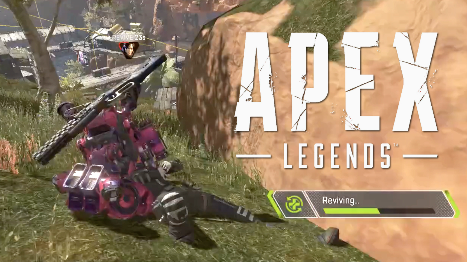 Apex Legends player reviving a teammate