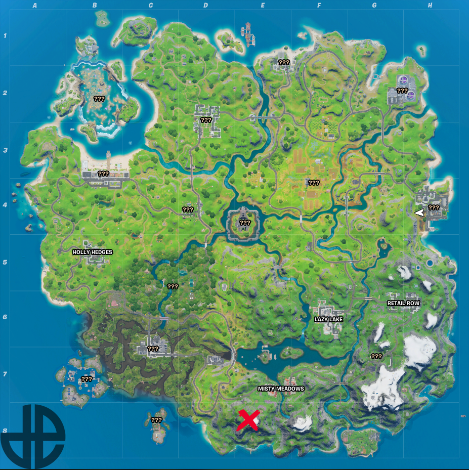 A map showing the location of Apres Ski in Season 3.