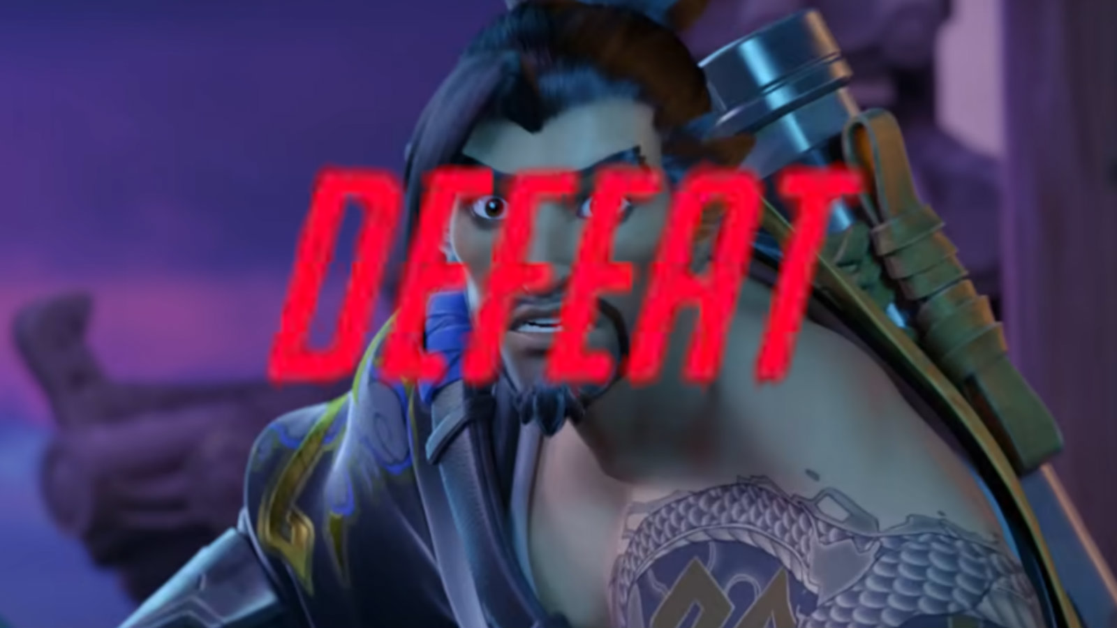 Overwatch defeat screen on Hanzo