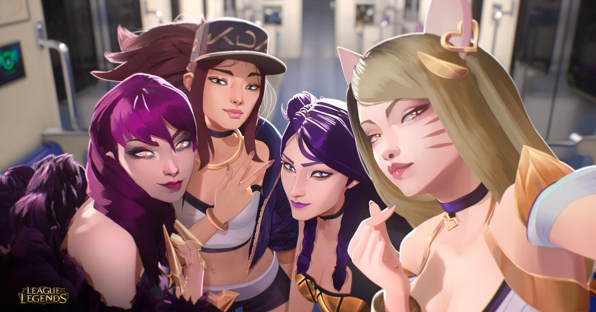 League champions Evelynn, Ahri, Akali, and Kai'Sa make up the original K/DA quartet.