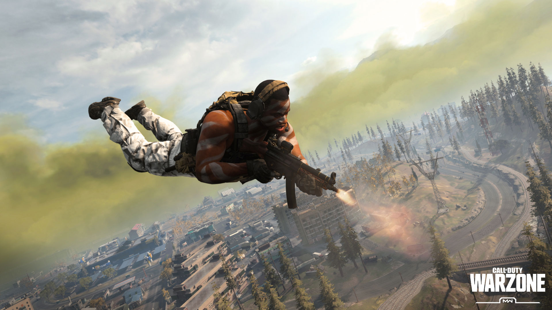 Call of duty character shooting while skydiving