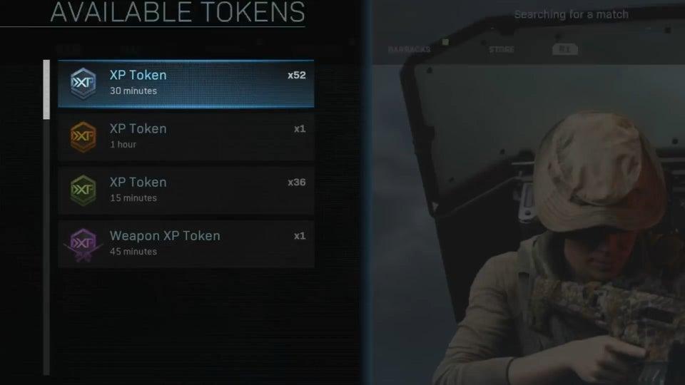 Xp token screen for modern warfare