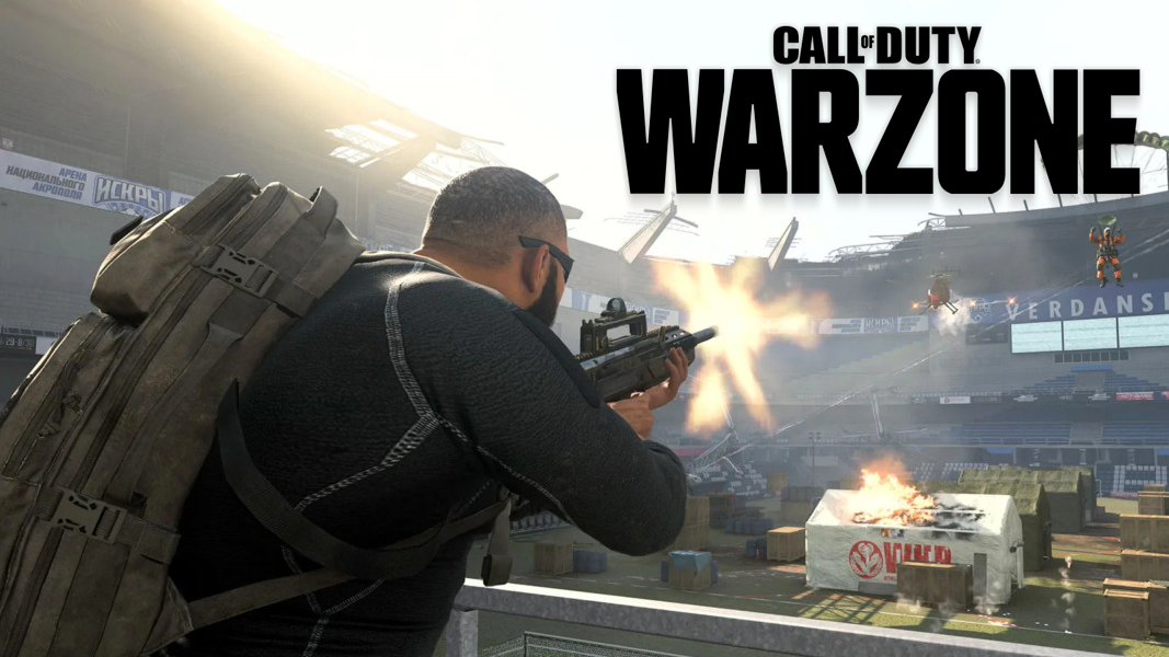 Warzone character shooting in Stadium