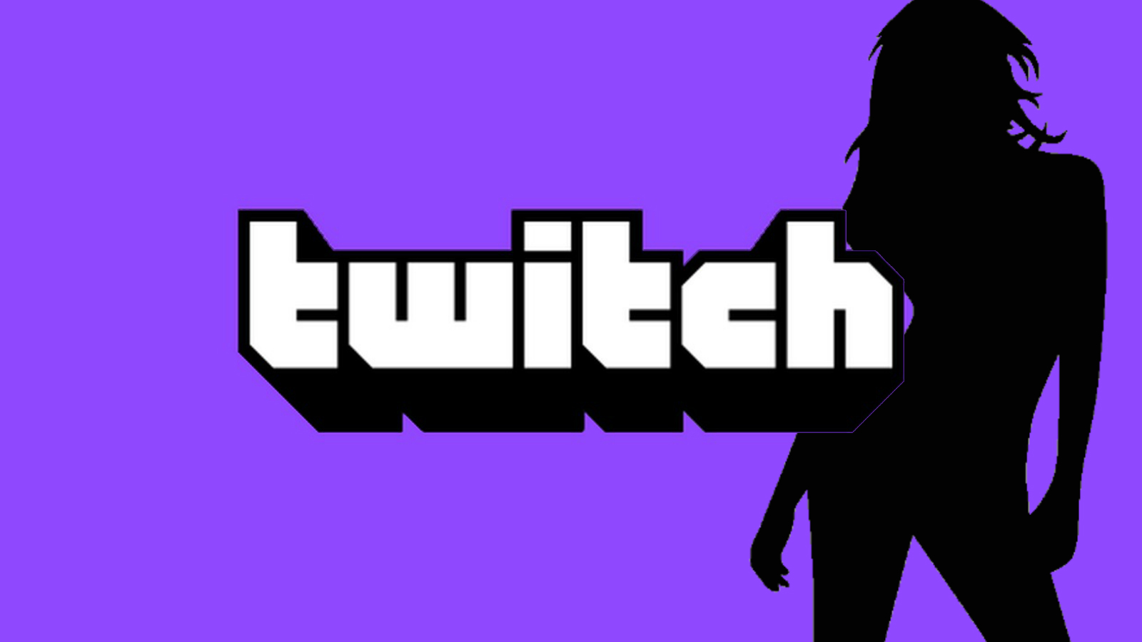 Twitch logo and silhoutte of a woman
