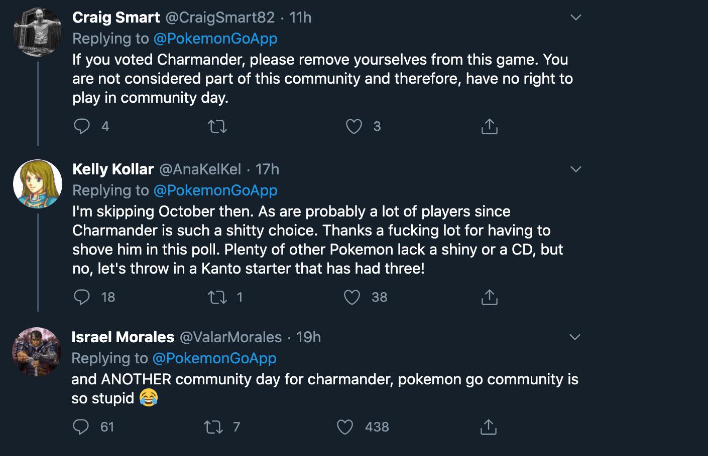 pokemon go charmander twitter comments