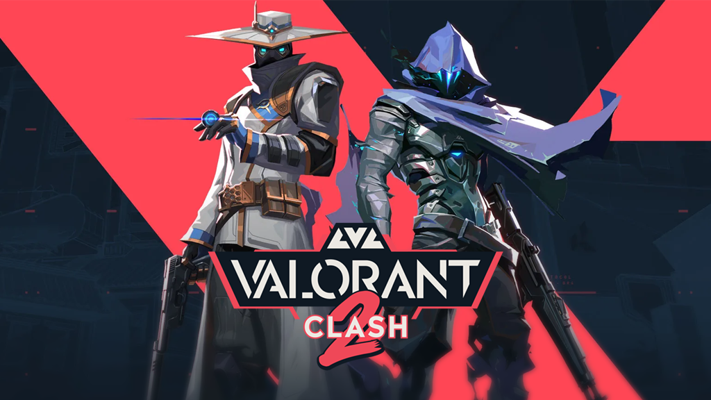 Omen and Cypher from Valorant behind LVL Clash 2 logo