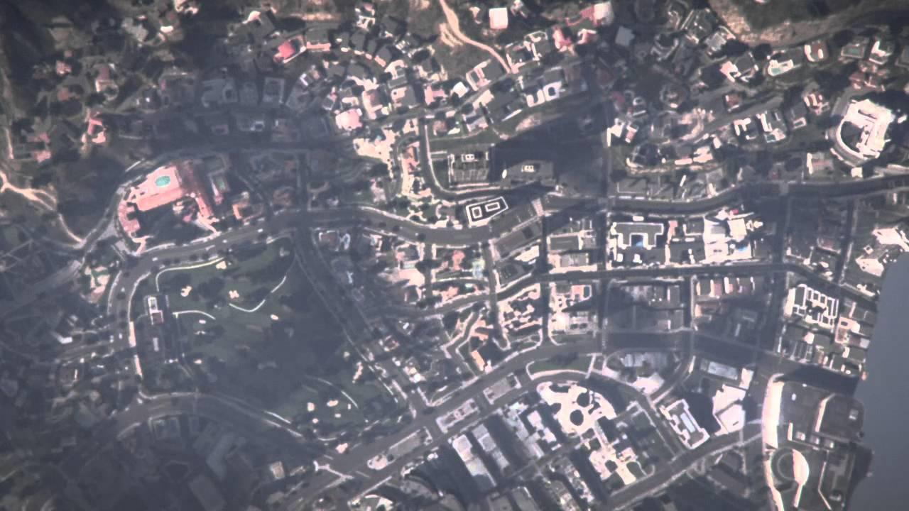 GTA's skycam looking down on Los Santos.