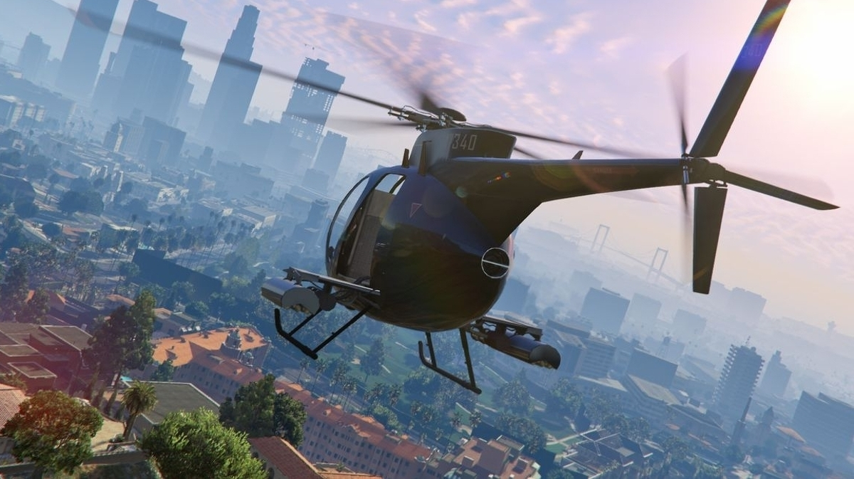 Helicopter flying over Los Santos.