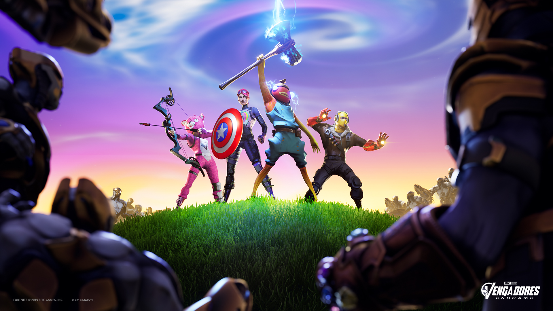 Fortnite characters with avengers weapons