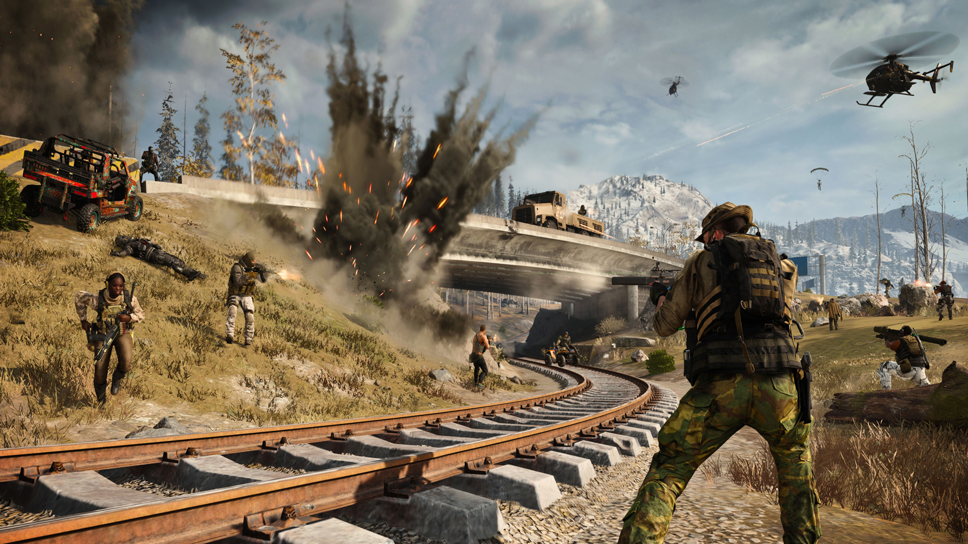 warzone characters shooting around Verdansk's train tracks