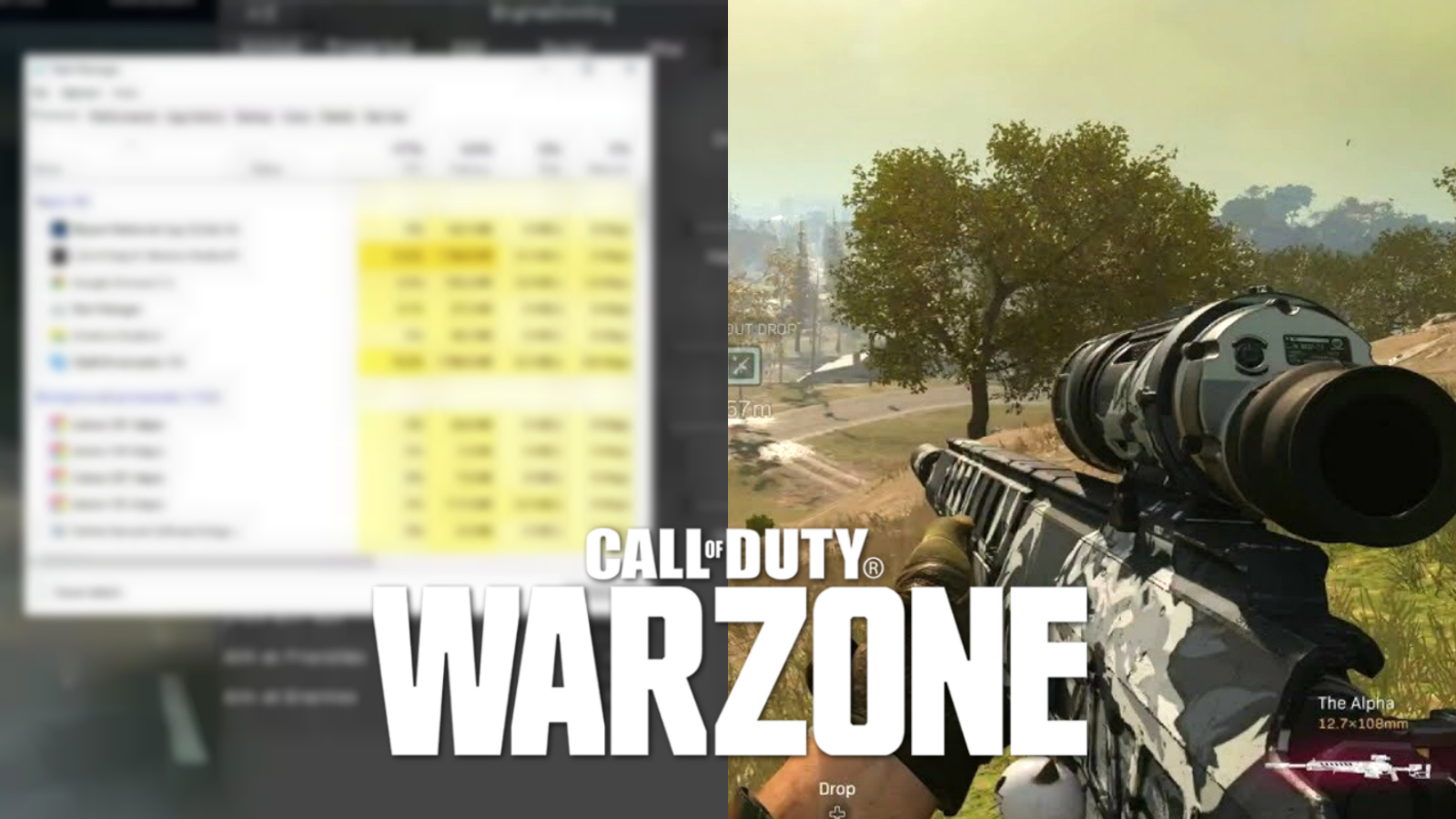 Task manager screen and warzone gameplay with warzone logo